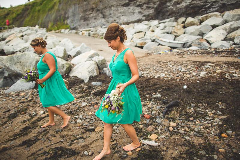 barefoot bridesmaids A Robin Hoods Bay Wedding
