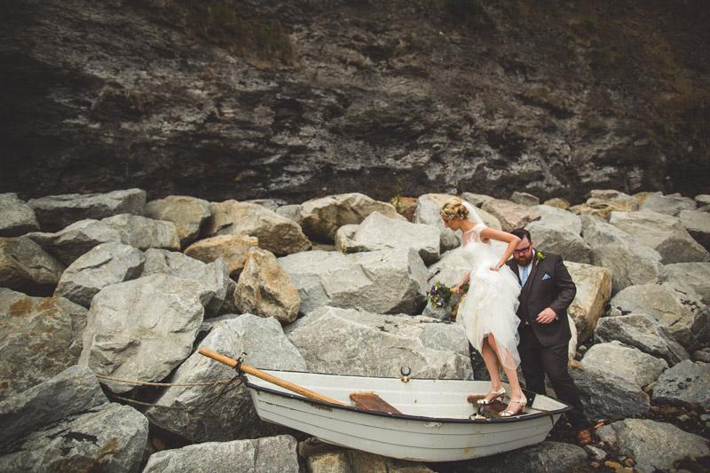 bride groom boat A Robin Hoods Bay Wedding