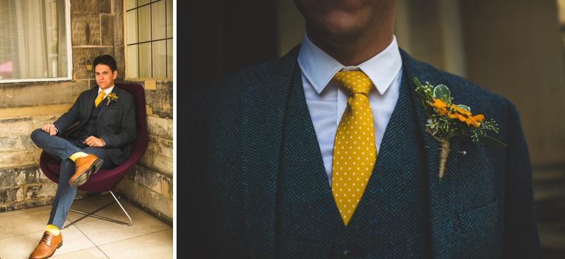 yellow wedding tie