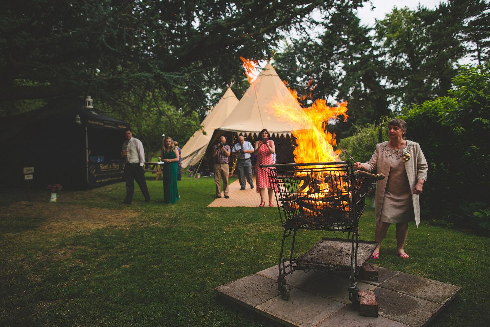 teepee wedding fire1